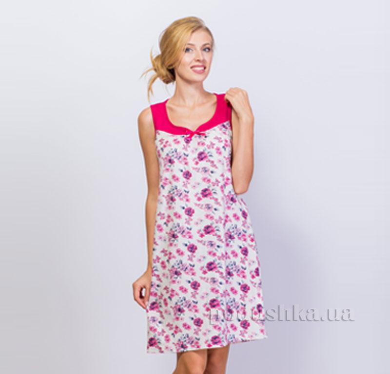 Ночная сорочка Цветы МТФ 4328 малиновая