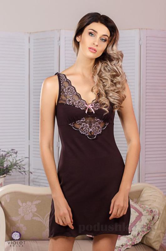 Ночная сорочка Violet delux НС-М-67 шоколадная