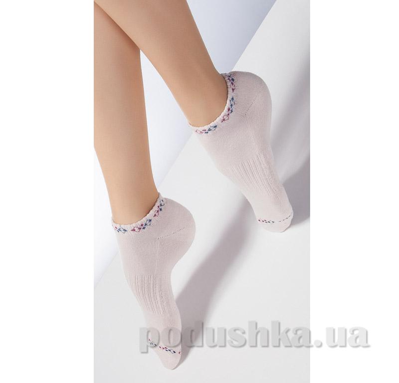 Носки бежевые махровые спортивные с рисунком TS-02 Giulia panna