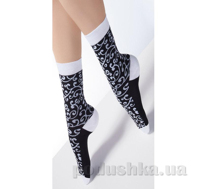 Носки черные с флористическим рисунком CP-05 Giulia nero