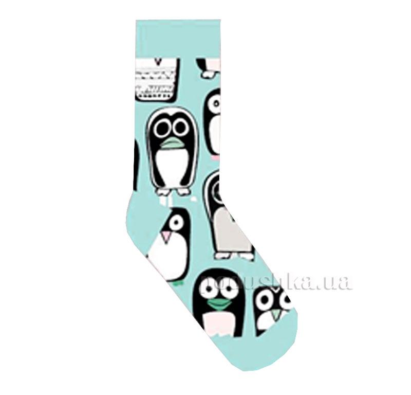 Носки для девочек Пингвины Кребо 2003 мятные