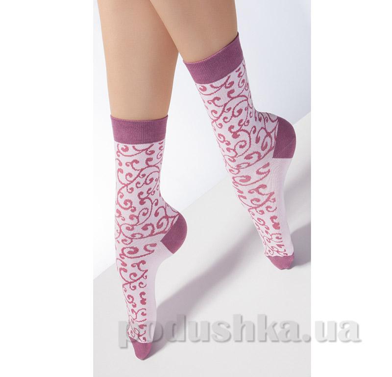 Носки розовые с флористическим рисунком CP-05 Giulia rose