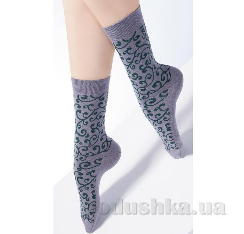 Носки серые с флористическим рисунком CP-05 Giulia fumo