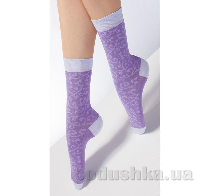 Носки сиреневые с флористическим рисунком CP-05 Giulia violet