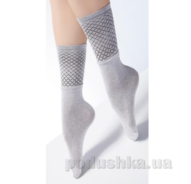 Носки высокие с двойным отворотом и ажурным рисунком Giulia Dual-2 sand