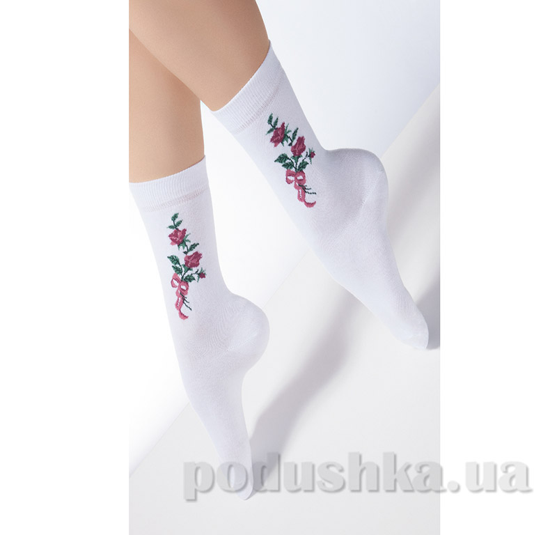 Носки белые женские с узором CP-01 Giulia bianco