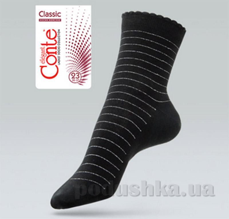 Носки женские тонкие с пикотом Classic Conte 7С-61СП 030 черные