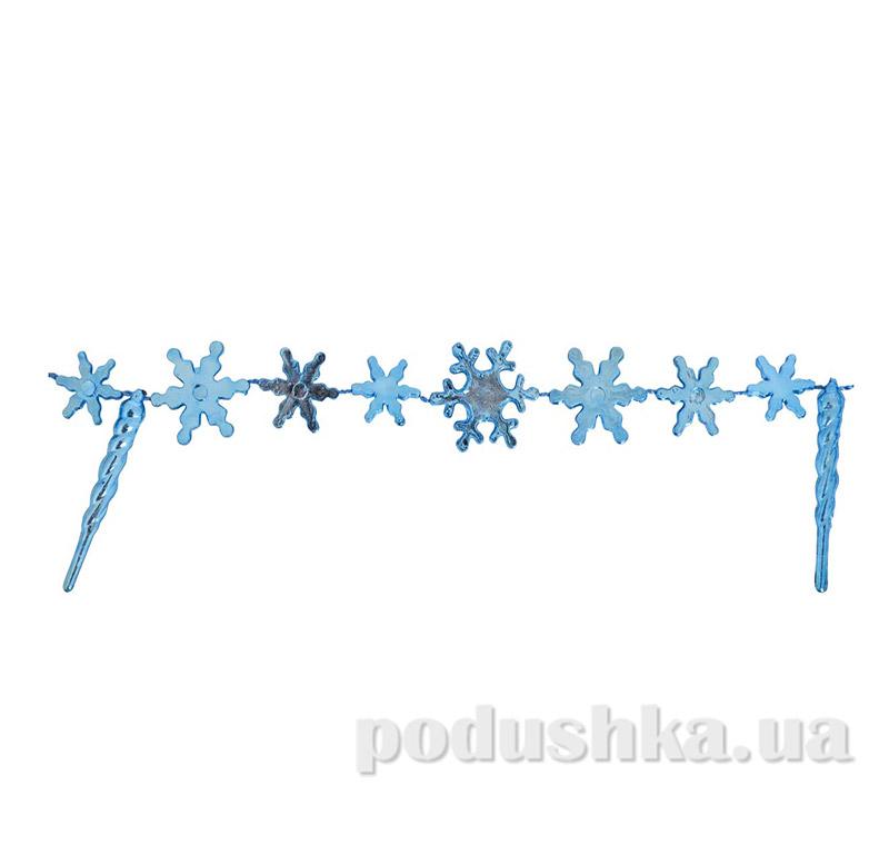 Новогодние бусы голубые новогодние Снежинки 971985