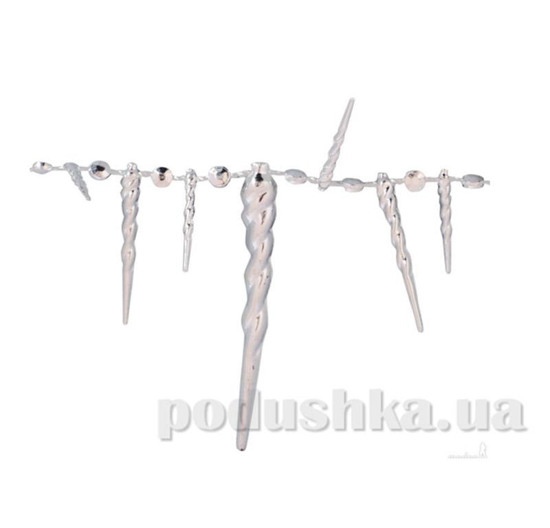 Новогодние бусы серебряные Льдинки 972093