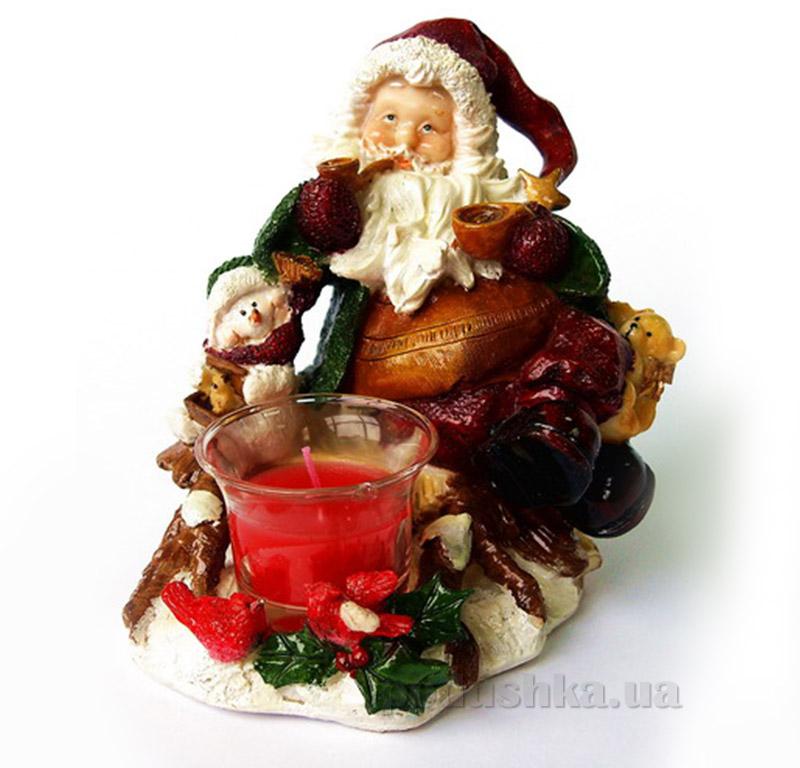 Новогодний подсвечник Дед Мороз с снеговиком 850470