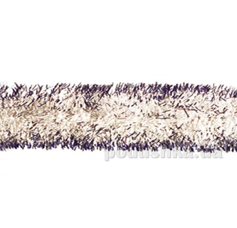 Новогодняя гирлянда серебро с синими кончиками Новогодько 902118