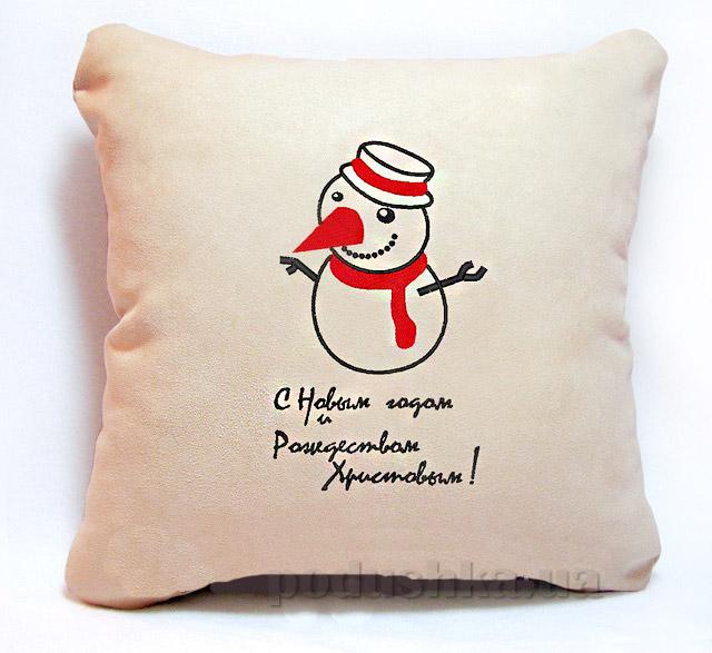 Новогодняя подушка Снеговичок С Новым годом и Рождеством Slivki