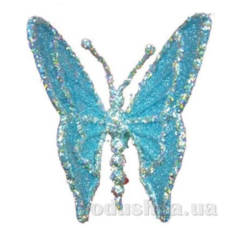 Новогодняя подвеска серебристо-голубая Бабочка Новогодько 960095