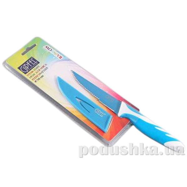 Нож д/стейка синий 4'' с антипригарным покрытием, ручка пластик, упаковка блистер Gipfel RAINBOW (углеродистая сталь)