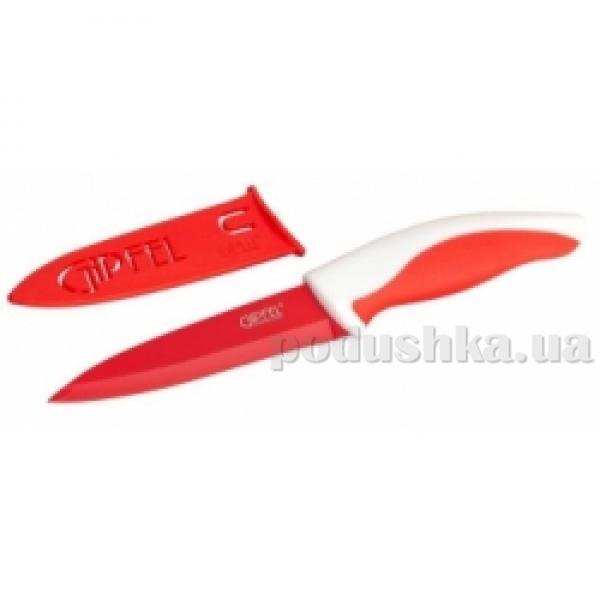 Нож красный с чехлом, ручка полипропилен + термопластик Gipfel