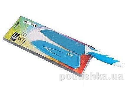 Нож Сантоку синий 4,5'' с антипригарным покрытием, ручка пластик, упаковка блистер Gipfel (углеродистая сталь)