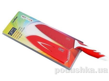 Нож Сантоку красный 4,5'' с антипригарным покрытием, ручка пластик, упаковка блистер Gipfel (углеродистая сталь)