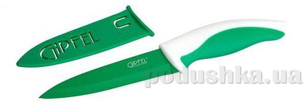 Нож зеленый с чехлом, ручка полипропилен + термопластик Gipfel