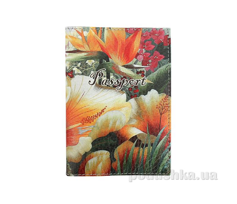 Обложка из эко-кожи Valex Оранжевые цветы P-86