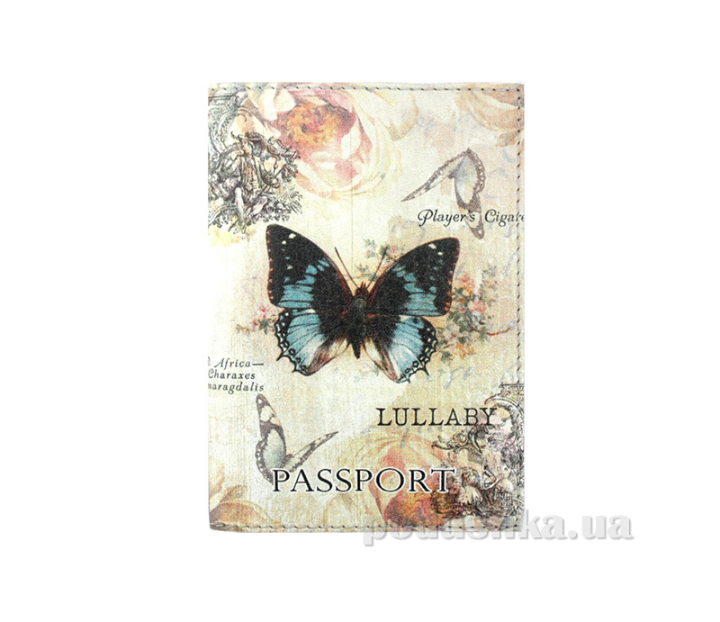 Обложка из эко-кожи Valex Винтажные бабочки P-114