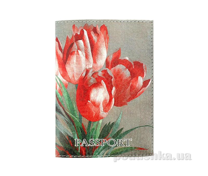 Обложка из эко-кожи Valex Винтажные тюльпаны P-115