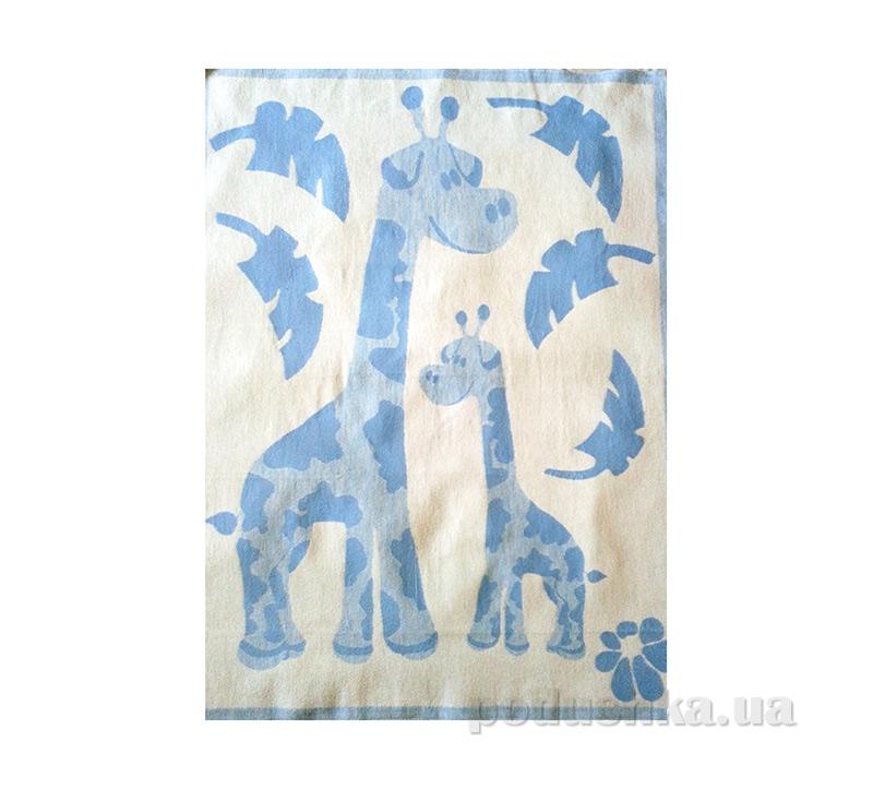 Одеяло детское WOT Жирафики светло-голубое
