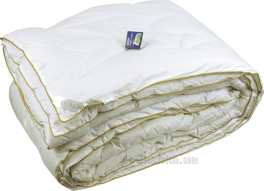 Одеяло Руно Royal зимнее шерстяное в тике с кантом зимнее 200х220 см молочный Руно