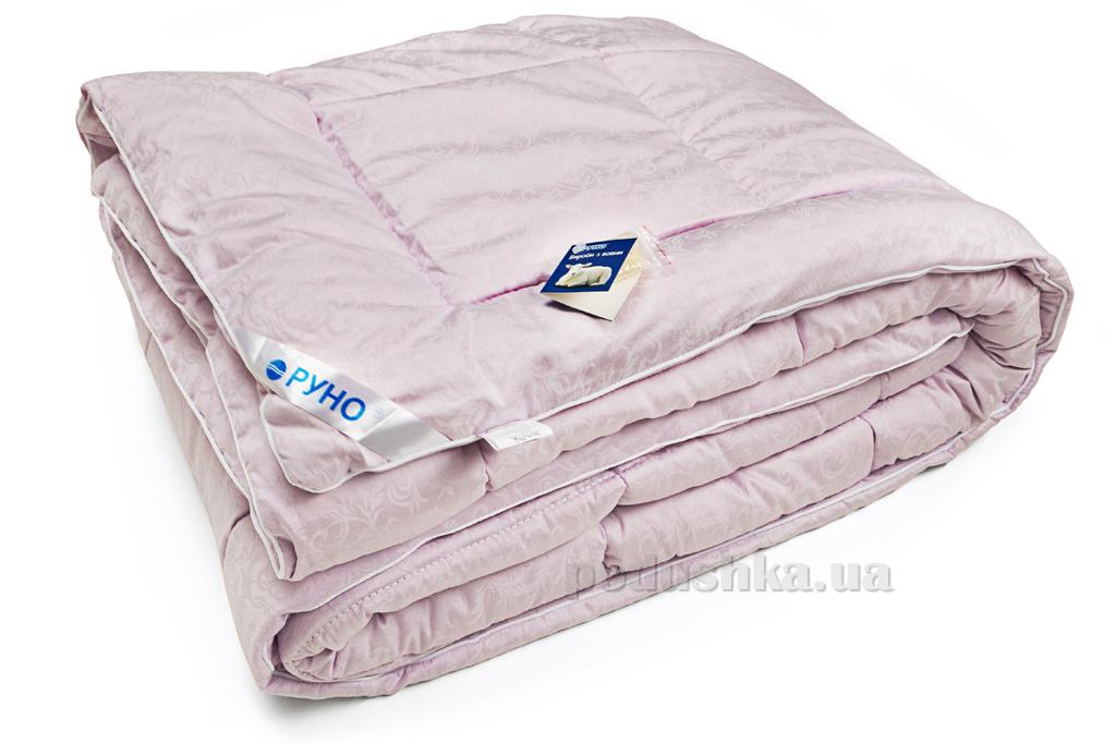 Одеяло Руно зимнее шерстяное в сатине сиреневое