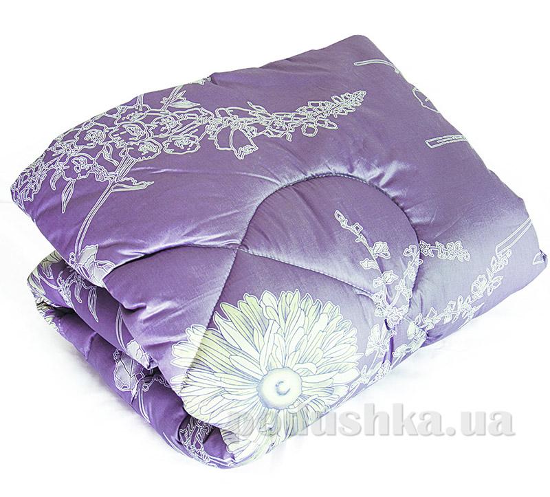 Одеяло шерстяное стеганное Ярослав Сатин+шерсть сиреневое с рисунком