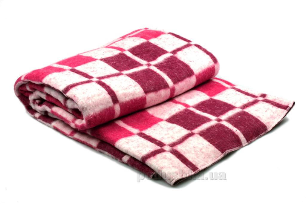 Одеяло-плед байка Vladi Клетка бордово-розовое