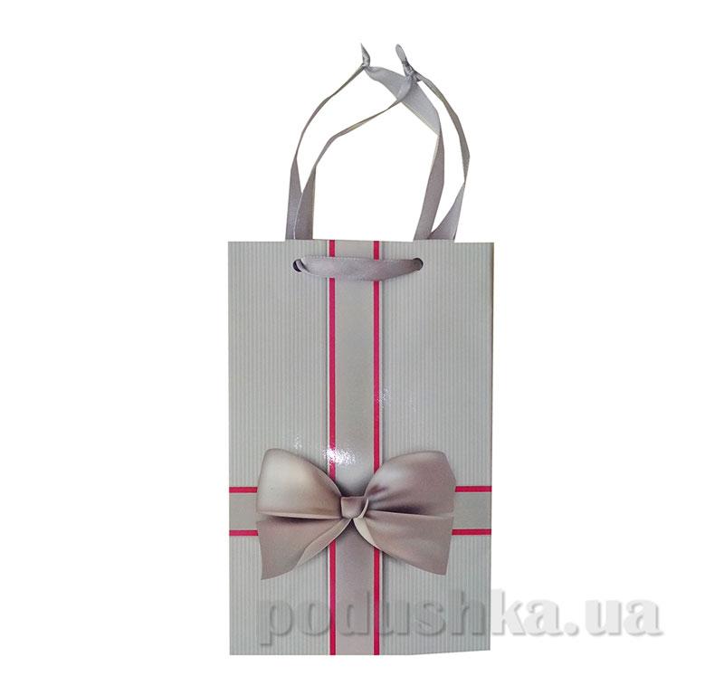 Пакет подарочный 15159 Бантик серый