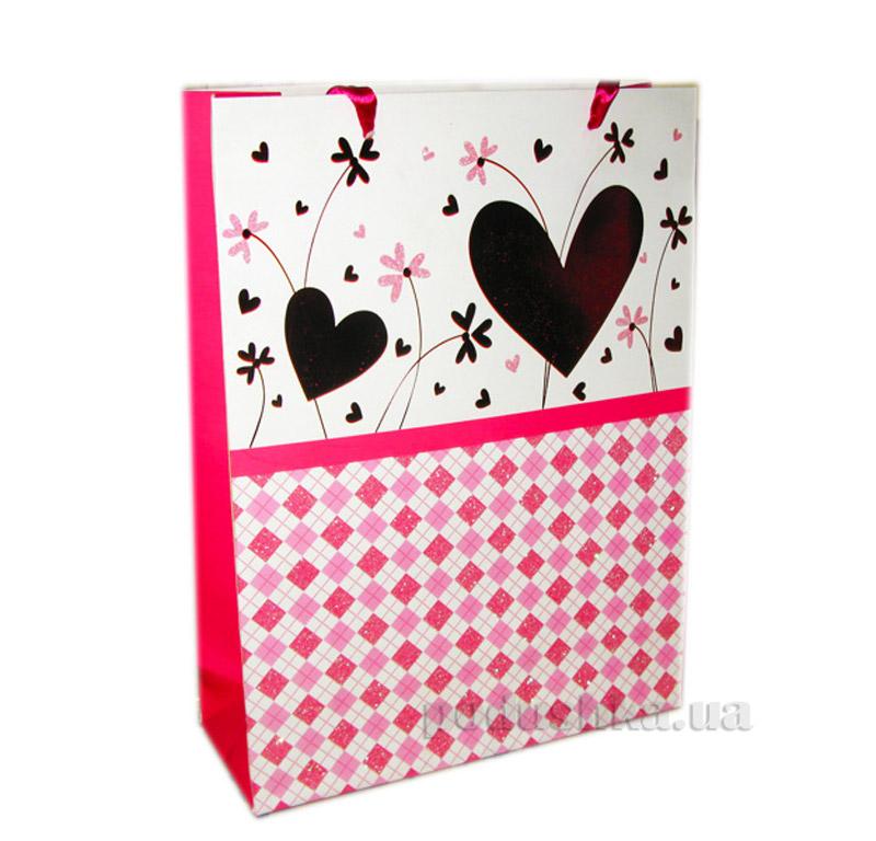Пакет подарочный Розовый с сердечками PH-1