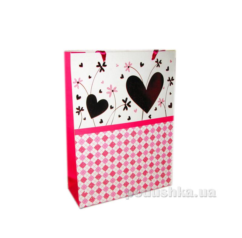 Пакет подарочный Розовый с сердечками №1