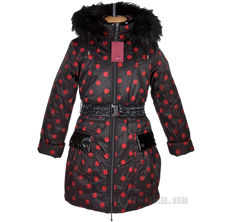 Пальто зимнее искусственная опушка Tashkan 121 горох красный крупный