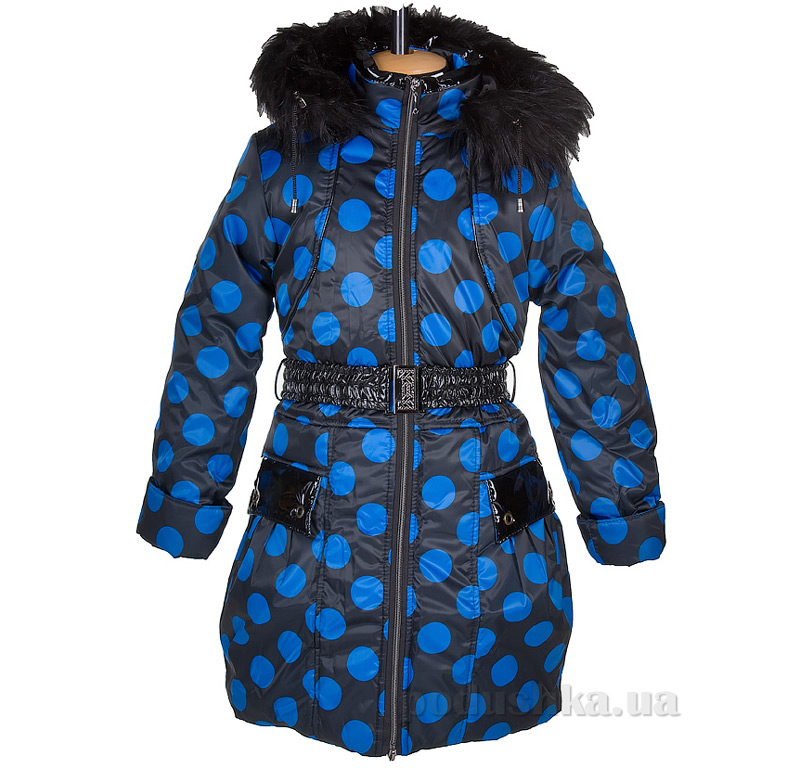 Пальто зимнее искусственная опушка Tashkan 121 горох синий крупный
