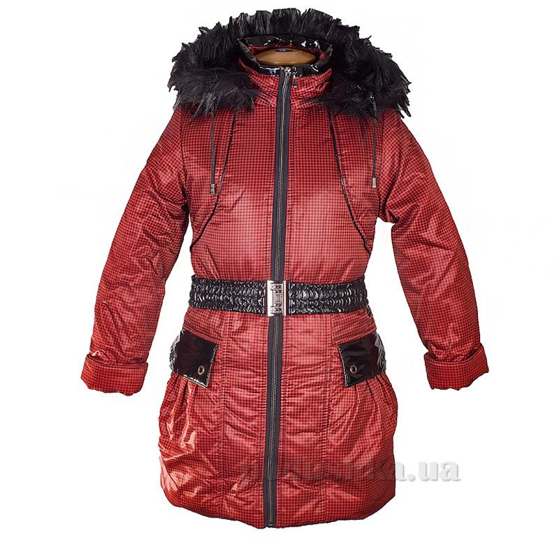 Пальто зимнее искусственная опушка Tashkan 121 красная клетка