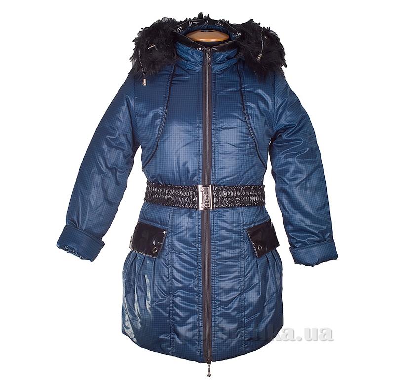 Пальто зимнее искусственная опушка Tashkan 121 синяя клетка