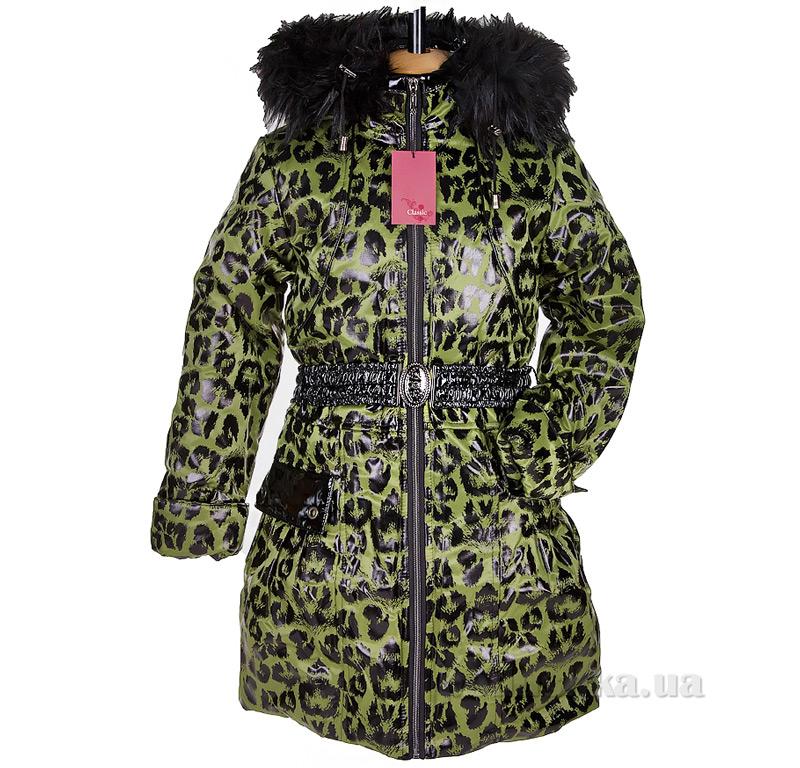 Пальто зимнее искусственная опушка Tashkan 121 зеленый леопард