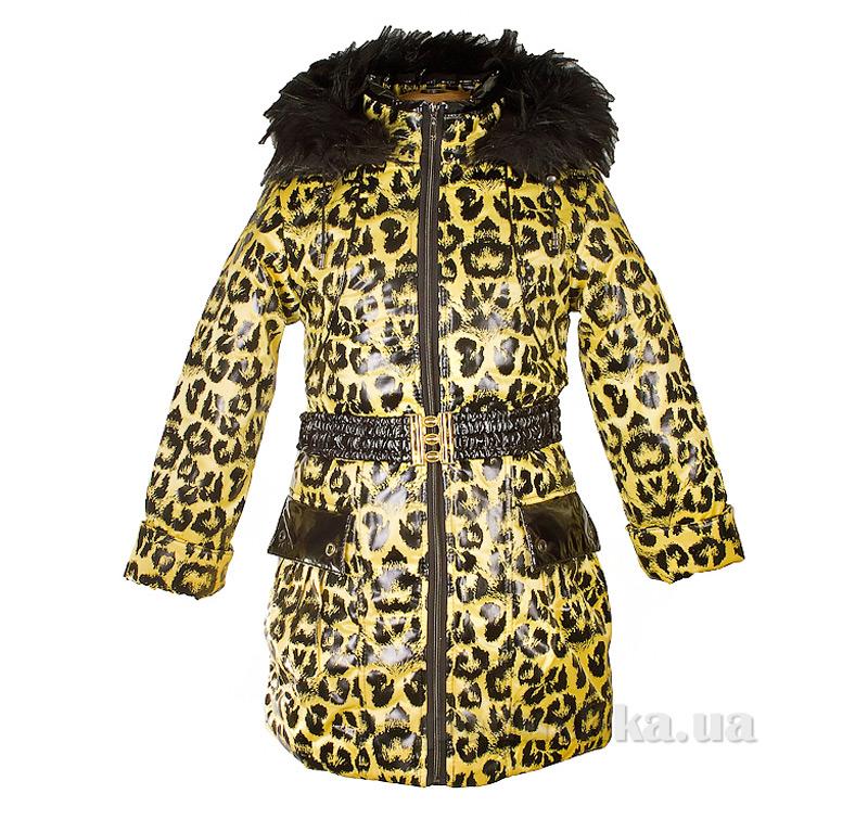 Пальто зимнее искусственная опушка Tashkan 121 желтый леопард