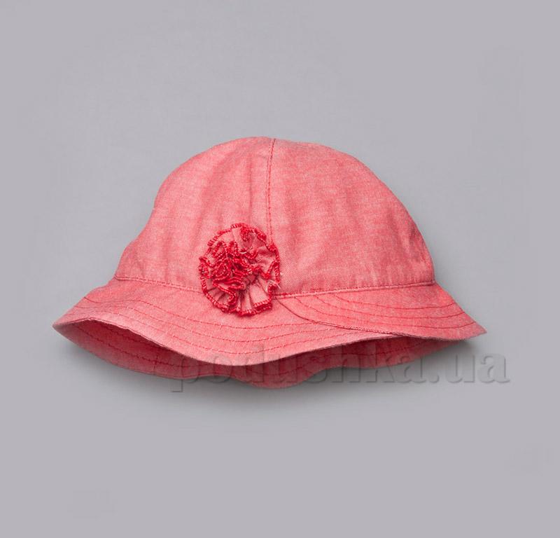 Панама для девочки с цветком Модный карапуз 03-00501 коралл