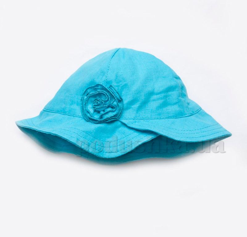 Панама для девочки с цветком Модный карапуз 03-00505 Голубой лен
