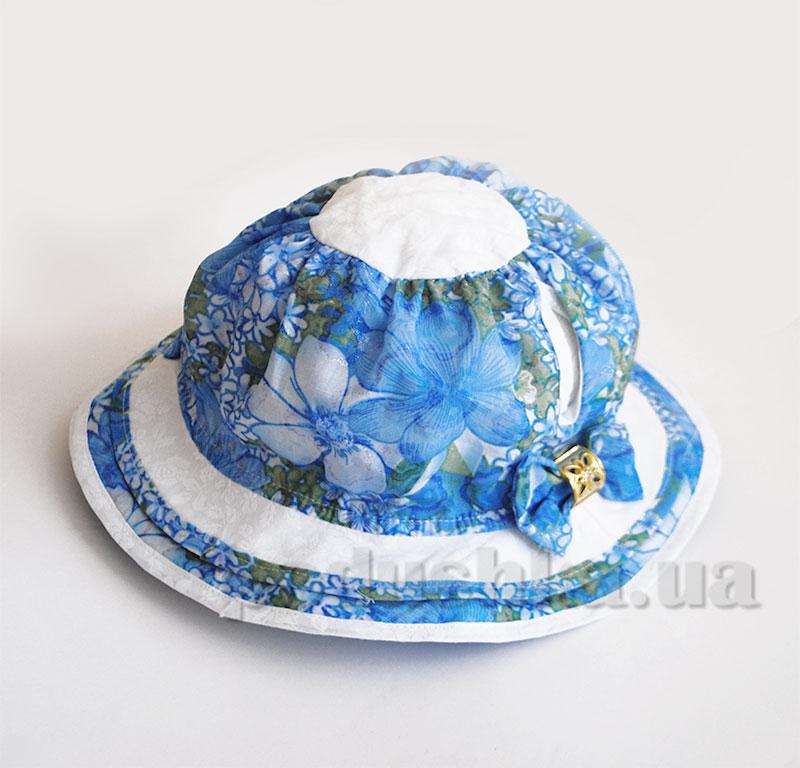 Панамка летняя для девочки Яся Бабасик голубая с белым