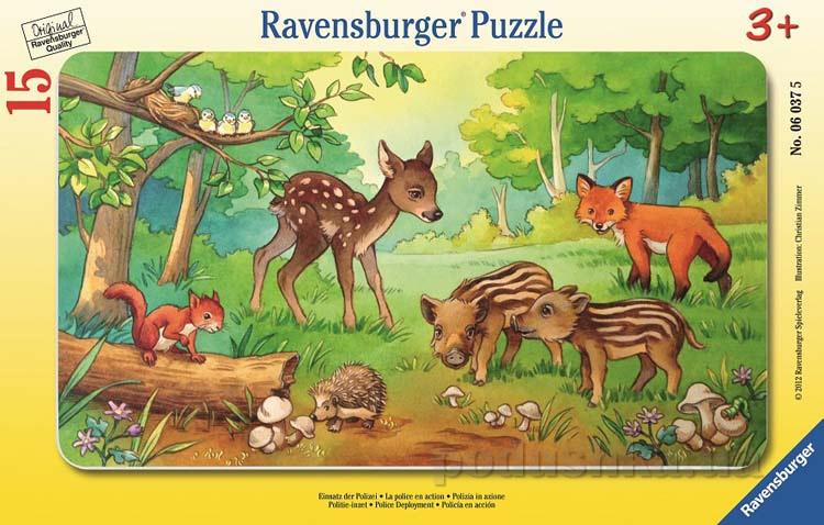Пазл в рамке Ravensburger Лесные малыши 15 элементов