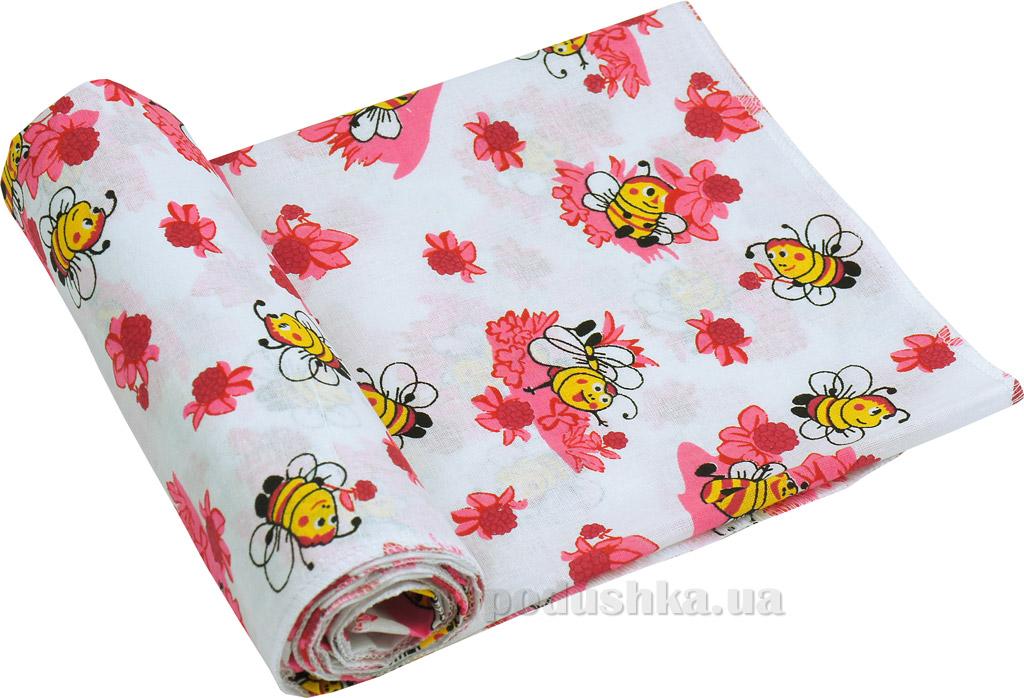 Пеленка детская ситец Руно Пчелка розовая