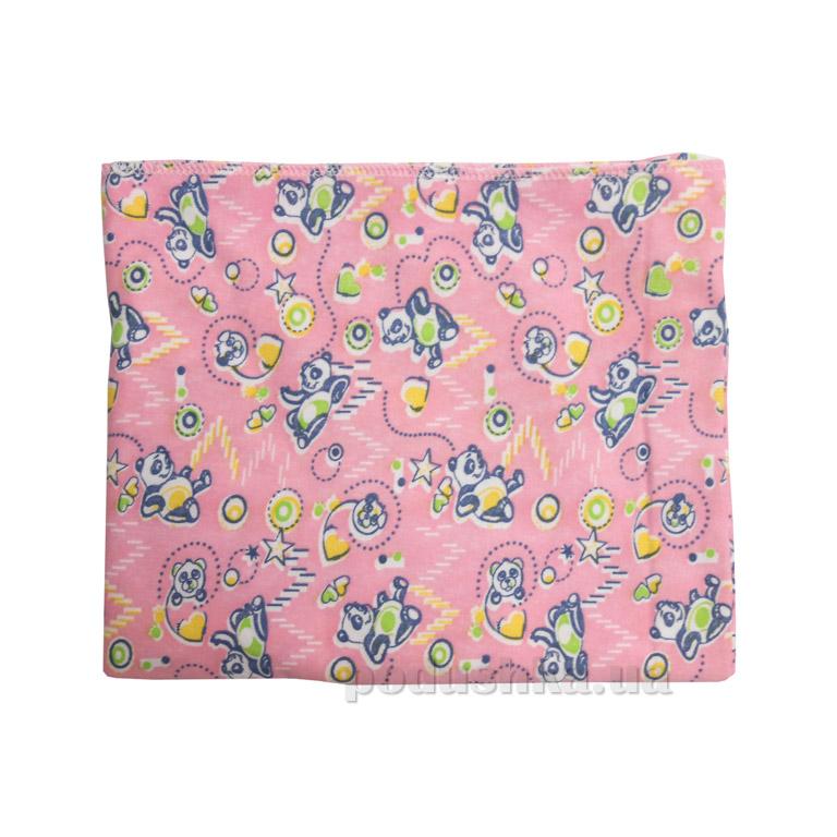 Пеленка трикотажная с набивным рисунком Руно 204.38Н розовая