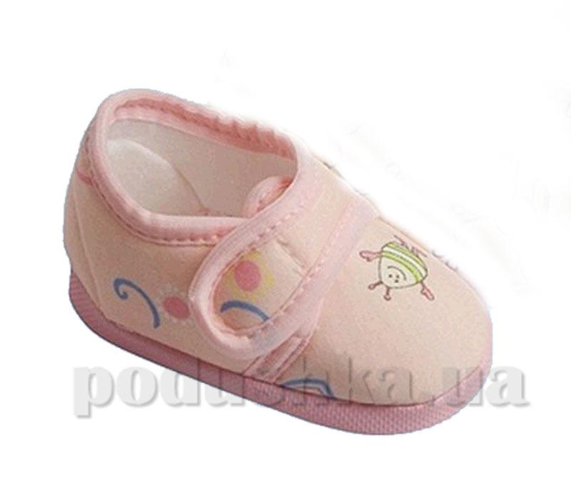 Пинетки на липучке хлопок розовый Volypok M008/4.4-10