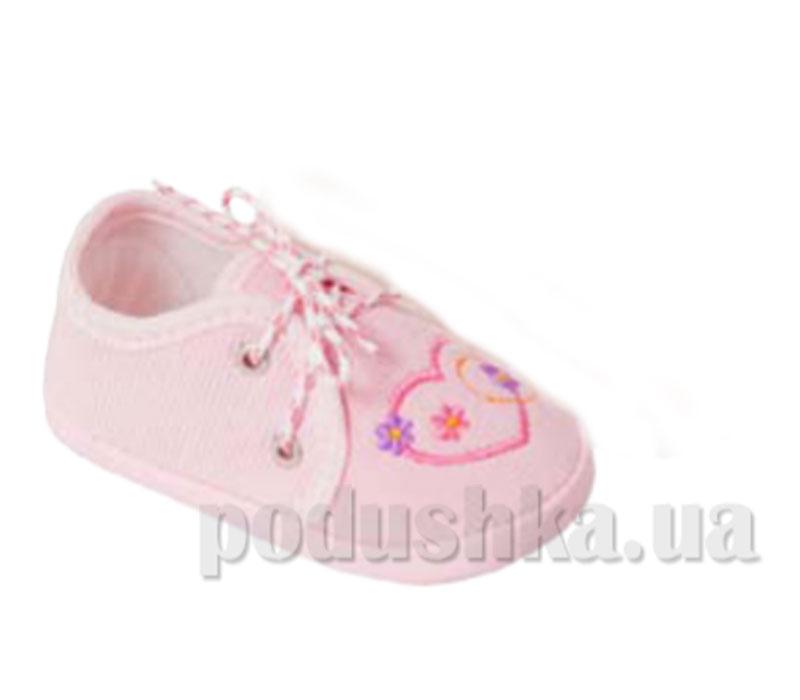 Пинетки с вышивкой вельвет розовый Volypok M011/4.4-10