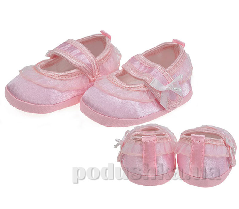 Пинетки Туфельки с оборкой атлас розовый Volypok M029.4-10
