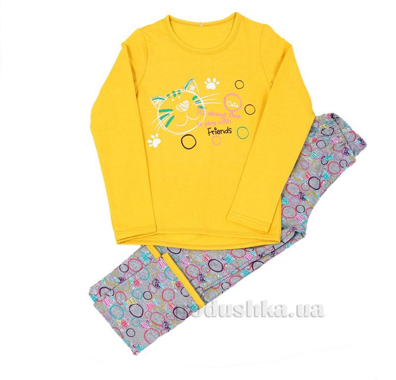 Пижама детская МТФ 4481 П Коты горчичная