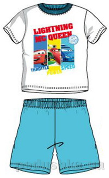 Пижама детская с коротким рукавом Sun City Машинка белая